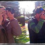 David y Esther en las prácticas del curso básico de fotografía Digital en Tarragona. Foto: Andreu Gual