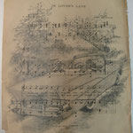 """In Lover's Lane""   approx. 11""x14""   Pencil on vintage sheet music"
