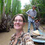 For once not easy riding: on a boat in Mekong Delta