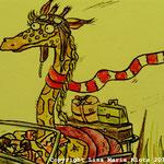 fräulein giraffe trägt schal.