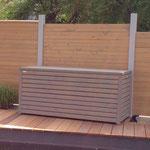 Auflagenbox / Kissenbox aus Holz, Transparent Geölt Grau
