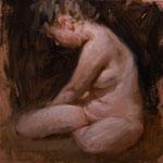 """Modelo sentada"" - Óleo/Tabla | 23,5 x 22,5 cm | 2010"