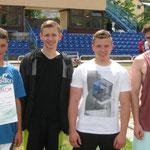 II miejsce sztafety 4x 100m od lewej: Dawid Gach, Kamil Dawid, Bartłomiej Konior, Szymon Wandzel - 45,5 sek