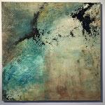 Verflogen, 2018, Acryl, Strukturmasse, Tusche, 70 x 70 x 2 cm