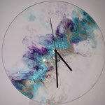 Uhr, Acryl, Resin auf Holzplatte, Durchmesser 30 cm
