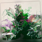 Explosion, Acryl, Resin, Pouring auf Holz, 60 x 60 x 4 cm