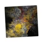Ohne Titel, Acryl, Resin, Pouring auf Holz, 25 x 25 x 4 cm