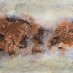Ohne Titel, 2018, Acryl, Mischtechnik, 80 x 130 x 4 cm