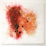 Love, 2018, Acryl, Marmormehl, Beize, Tusche, 50 x 50 x 2 cm