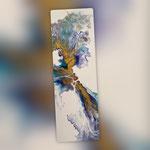 Ohne Titel, Acryl, Resin, Pouring auf Holz, 20 x 60 x 4 cm