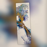 Blaue Lagune, Acryl, Resin, Pouring auf Holz, 20 x 60 x 4 cm