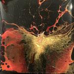 """Phönix"" -  Acryl, Resin, Pouring auf MDF_Platte, 10 x 10 x 4 cm"