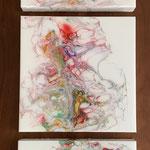 Ohne Titel, Acryl, Resin, Pouring auf MDF-Platten, 3 mal 25 x 25 x 3 cm