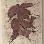 Fische, 2018, Acryl, Strukturmasse, 50 x 40 x 2 cm