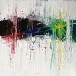 Gedanken 2, 2014, Acryl, Tusche, Strukturmasse, 40 x 40 x 2 cm