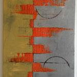 Ohne Titel, 2014, Acryl, Spachteltechnik, 70 x 50 x 2 cm