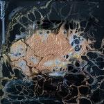 Ohne Titel, Acryl, Resin, Pouring auf MDF-Platte, 10 x 10 x 3 cm