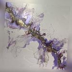 Ohne Titel, Acryl, Resin, Pouring auf Holz, 50 x 50 x 4 cm