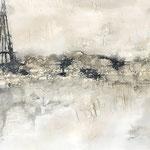 """""""Stadt der Liebe"""" -  Acryl, Strukturmasse, Beize, 80 x 140 x 4 cm"""