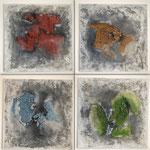 Vier Elemente, 2018, Strukturmasse, Pigmente, 4 mal 45 x 45 x 2 cm
