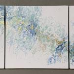 Tanz der Freude, Acryl, Pouring auf Holz, 3 mal 45 x 45 x 4 cm