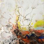 Ohne Titel, Acryl, Resin, Pouring auf Keilrahmen, 30 x 20 x 2 cm