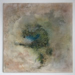 Die Wüstenoase, 2018, Acryl, Marmormehl, Tusche, Beize, 50 x 50 x 2 cm