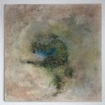 """""""Die Wüstenoase""""  -   Acryl, Marmormehl, Tusche, Beize, 50 x 50 x 2 cm"""