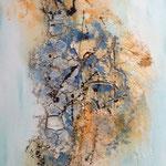 """""""Sonnige Gedanken"""" -  Acryl, Pigmente, Strukturmasse, 100 x 50 x 2 cm"""