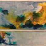 """Weltall"" -   Acryl, Strukturmasse, Tusche, 60 x 140 x 4 cm + 30 x 140 x 4 cm"