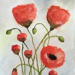 Mohnblumen 2, Aquarell auf Papier, 32 x 24 cm