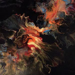 """Rückkehr des Drachens"" -  Acryl, Resin, Pouring auf Holz, 45 x 45 x 4 cm"