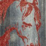 """Pferd"" -  Acryl, Strukturmasse, 70 x 50 x 2 cm"