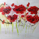 Mohnblumen, Acryl, Strukturmasse, Beize, 50 x 70 x 2 cm