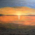 Sonnenuntergang in Frankreich, Acryl, 70 x 140 x 4 cm