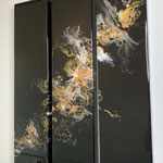 Die Nacht, Acryl, Resin, Pouring auf Holz, 3 mal 15 x 60 x 4 cm