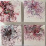 Ohne Titel, Acryl, Resin, Pouring auf MDF-Platte, 4 mal 15 x 15 x 3 cm