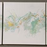 Ohne Titel, Acryl, Pouring auf Holz, 3 mal 45 x 45 x 4 cm