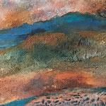 Am Niel entlang, Acryl, Strukturmasse, 40 x 110 x 2 cm