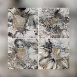 Untersetzer, Acryl, Riesin, Pouring auf MDF.Platte, 4 mal 11 x 11 cm