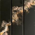 Ohne Titel, Acryl, Riesin, Pouring auf Holz, 3 mal 20 x 75 x 4 cm