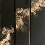 Legenden, Acryl, Riesin, Pouring auf Holz, 3 mal 20 x 75 x 4 cm