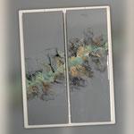 Ohne Titel, Acryl, Resin, Pouring auf  Holzrahmen, 2 x 25 x 70 x 4 cm