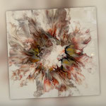 ohne Titel, Acryl, Resin, Pouring, 70 x 70 x 4 cm