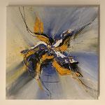 Wilder Hibiskus, Acryl, 45 x 45 x 2 cm