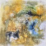 """""""Blick am See"""" -  Marmormehl, Tusche, Beize, 40 x 40 x 2 cm"""