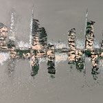 """Stadt am Fluss 3"" -  Acryl, Spachteltechnik, 70 x 170 x 4 cm"