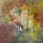 Gedanken gefolgt, Acryl, Riesin, Pouring, 45 x 45 x 4 cm
