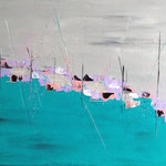 Hafen, 2014, Acryl, Collage, 60 x 80 x 2 cm