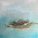 Island in the ocean, 2019, Acryl, Strukturmasse, Mischtechnik, 70 x 70 x 4 cm